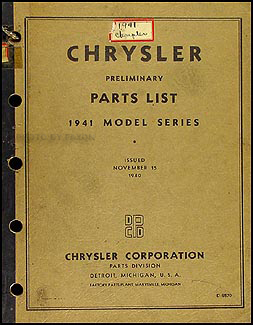 1941 Chrysler Preliminary Parts Book Original