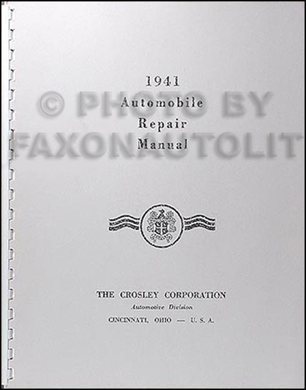 1939-1942 Crosley Automobile Reprint Repair Manual