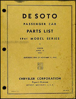 1941 DeSoto Parts Book Original, April 1941 Edition