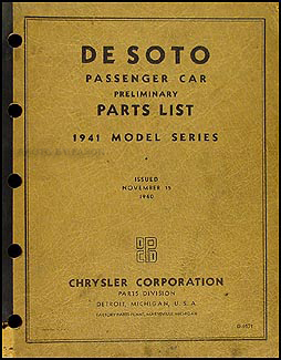 1941 DeSoto Preliminary Parts Book Original