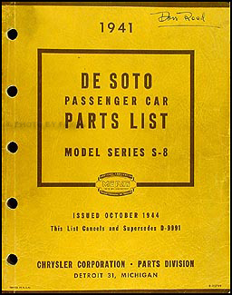 1941 DeSoto Parts Book Original, 1944 edition