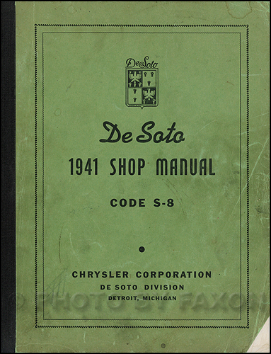 1941-1942 De Soto Shop Manual Original
