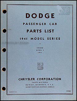 1941 Dodge Car Parts Book Original