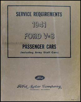 1941 Ford Car Original Service Requirements