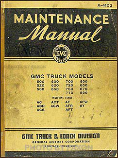 1941-1942 GMC 500-890 Repair Manual Original