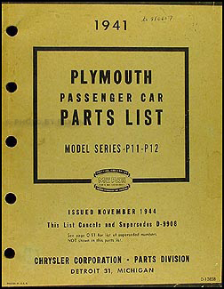 1941 Plymouth Car Parts Book Original