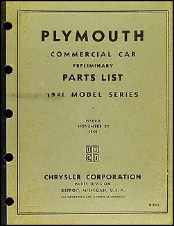 1941 Plymouth Truck Parts Book Original