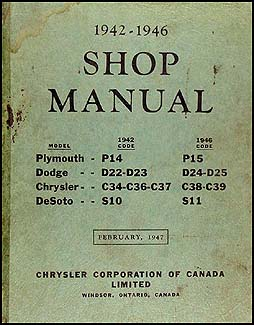 1942-1946 Plymouth Dodge Chrysler DeSoto CANADIAN Repair Shop Manual Orig.