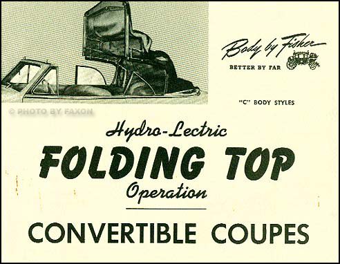 1941-1947 GM Coupe Convertible Top Owner's Manual Reprint
