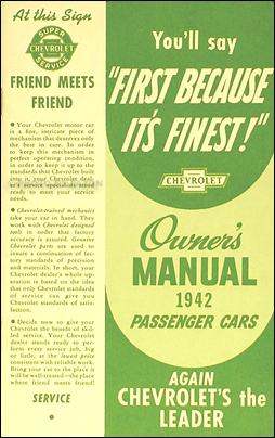 1942 Chevrolet Car Reprint Owner's Manual 42 Chevy