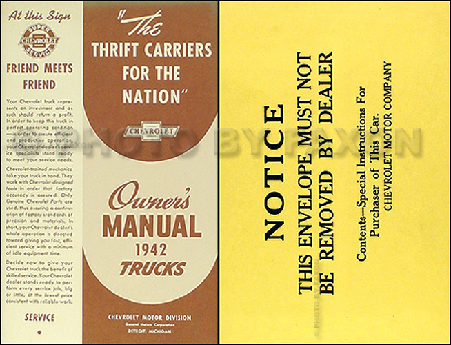 1942 Chevrolet Pickup and Truck Reprint Owner's Manual Package