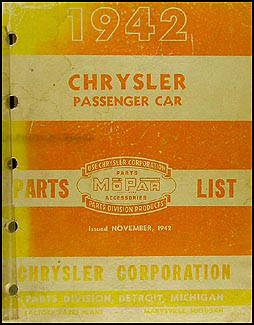 1942 Chrysler Parts Book Original