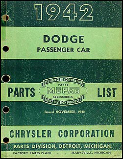 1942 Dodge Car Parts Book Original