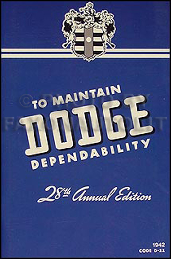 1942 Dodge Car Owner's Manual Reprint