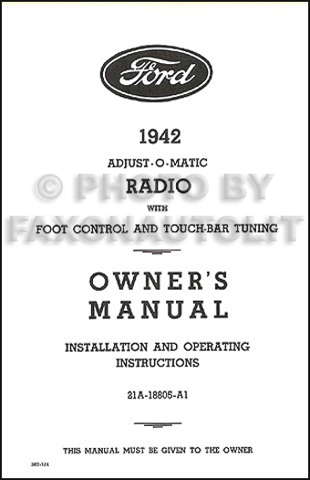 1942 Ford Radio Reprint Owner's Manual with Installation Instructions