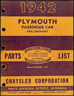 1942 Plymouth Preliminary Parts Book Original