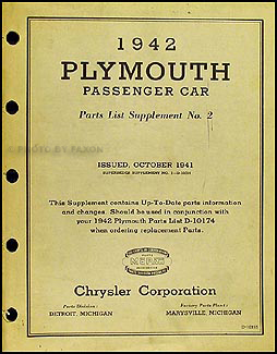 1942 Plymouth Car Original Parts List Supplement No. 2
