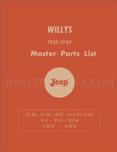 1945-1949 Willys Jeep Parts Book Reprint