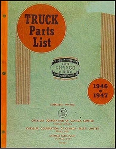 1946-1947 Canadian Dodge Truck and Fargo Parts Book Original