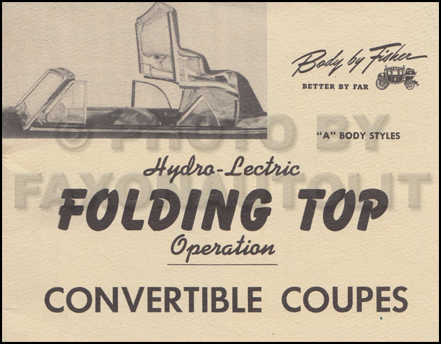 1946-1947 GM A Body Convertible Top Owner's Manual Original