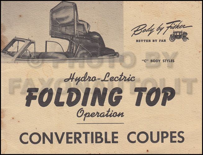 1946-1947 Buick, Cadillac, Olds 90/98 Convertible Top Owner's Manual Original