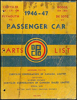 1946-1947 CANADIAN Parts Book Original Chrysler De Soto Dodge Plymouth