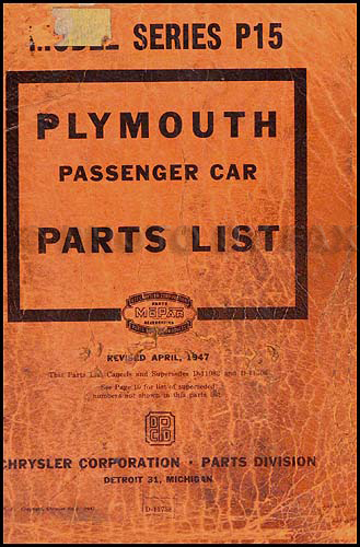 1946-1947 Plymouth Parts Book Original