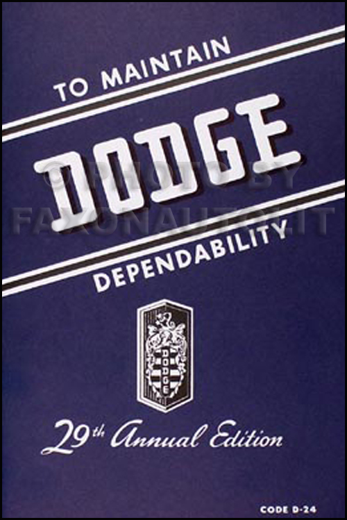 1946-1948 Dodge Car Owner's Manual Reprint
