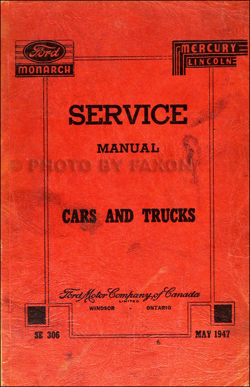 1946-1948 Canadian Service Manual Original Ford Monarch Lincoln Mercury