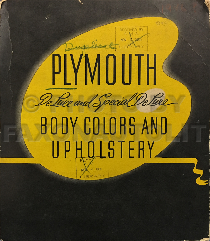 1946-1948 Plymouth Color & Upholstery Dealer Album Original