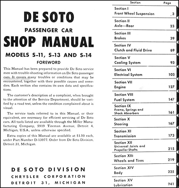 1959 desoto wiring diagram 1946 1950    de soto    repair shop manual original  1946 1950    de soto    repair shop manual original