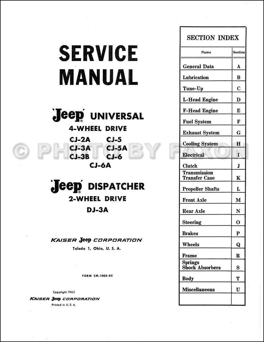 1946 1965 Jeep Cj 2a 3a 3b 5 5a 6 Repair Shop Manual Reprint 1958 Wiring Diagram Table Of Contents