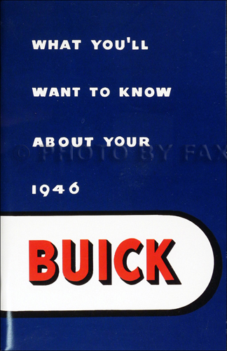 1946 Buick Owner's Manual Reprint