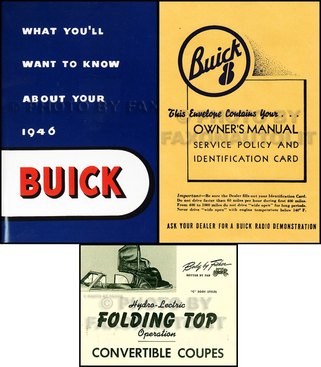 1946 Buick Super and Roadmaster Convertible Owner's Manual Reprint Set