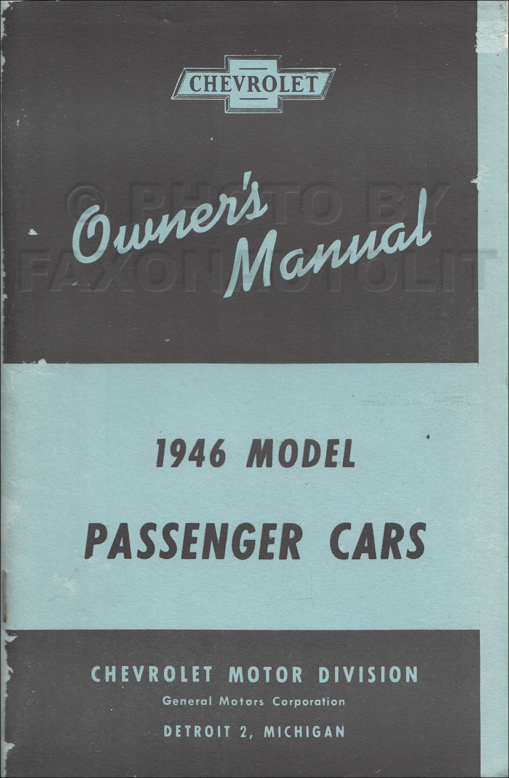 1946 Chevrolet Car Reprint Owner's Manual older edition