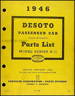 1946 De Soto Preliminary Parts Book Original DeSoto