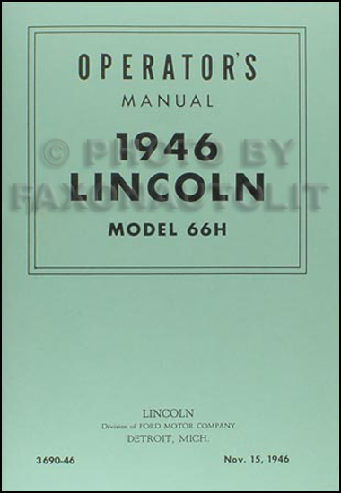 1946 Lincoln Model 66H Operator's Manual Reprint