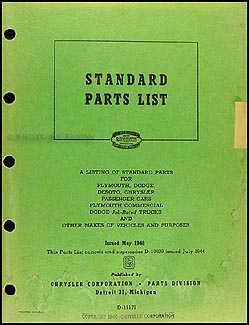 1932-1946 Mopar Nuts and Bolts Parts Book Original