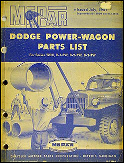 1947-1951 Dodge Power Wagon Parts Book Original