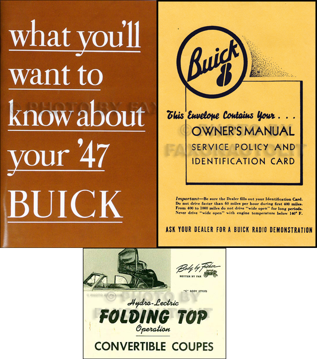 1947 Buick Super and Roadmaster Convertible Owner's Manual Reprint Set