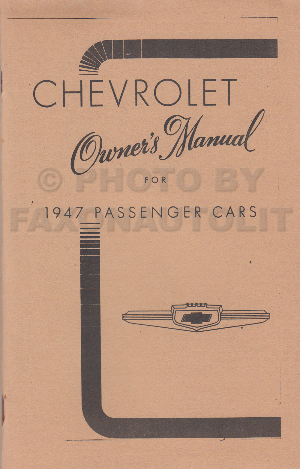 1947 Chevrolet Car Owner's Manual Reprint, older edition
