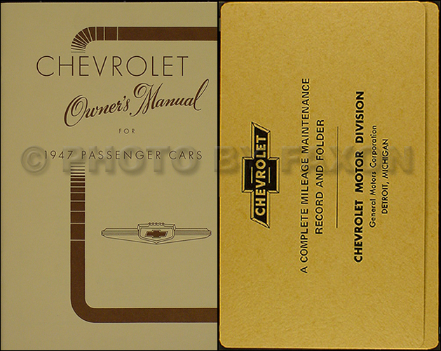 1947 Chevrolet Car Reprint Owner's Manual Package