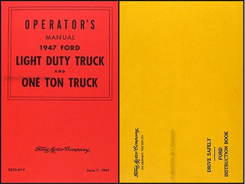 1947 Ford Pickup & Truck Owner's Manual Reprint 1/2 ton to 1 ton
