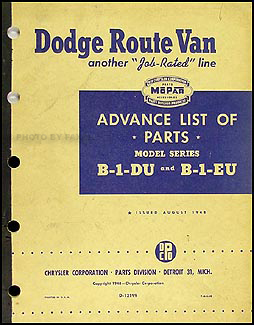 1948-1949 Dodge Route Van Advance Parts Book Original B-1-DU B-1-EU