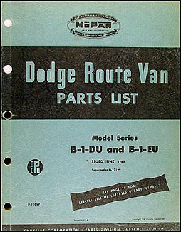 1948-1949 Dodge Route Van Parts Book Original
