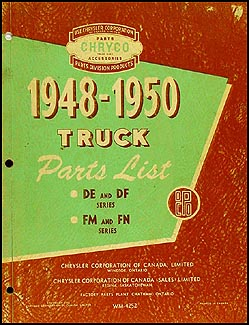 1948-1950 Canada & Export Truck Parts Book Orig. Dodge Fargo De Soto