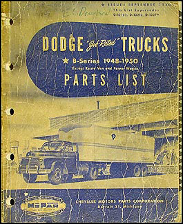 1948-1950 Dodge Truck Parts Book Original