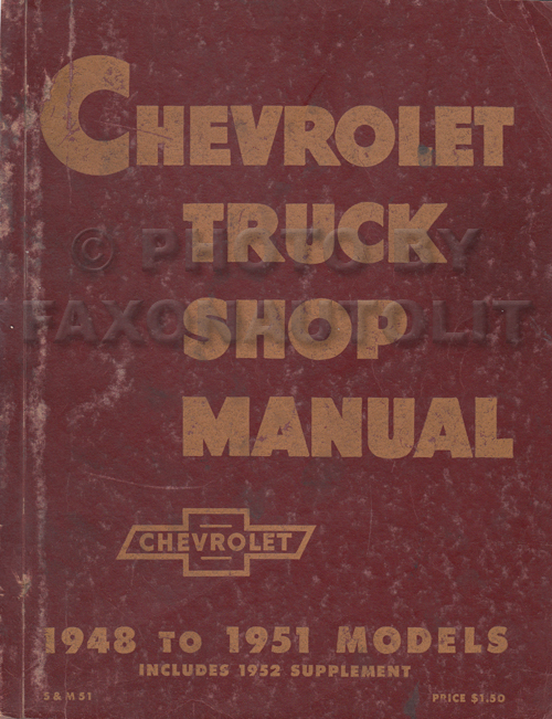 1948-1953 Chevy Pickup and Truck Shop Repair Manual Original