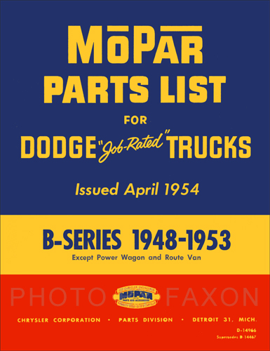 1948-1953 Dodge Pickup and Truck Parts Book Reprint B1 B2 B3 B4