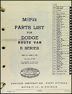 1948-1953 Dodge Route Van Parts Book Original